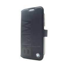 BMW Black Leather Signature Edition Booktype Case with Debossed Logo for Samsung Galaxy S6