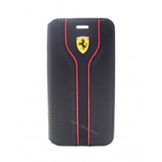 """Scuderia Ferrari Racing Collection Booktype Case for iPhone 6 Plus / 6s Plus (5.5"""") Black Carbon"""