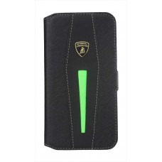 """Lamborghini Aventador-D5 Genuine Leather Magic Link 2 in 1 Wallet Case w/cardholder for iPhone 6 / 6s (4.7"""") Black/Green"""
