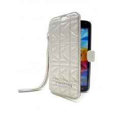 Karl Lagerfeld Kuilted series Booktype Case for Samsung Galaxy S5 - Silver