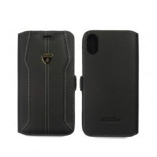Lamborghini Huracan-D1 Leather Ultra Slim Side Flip Case with Cardholder for iPhone X  (Black)