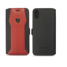Lamborghini Huracan-D1 Leather Ultra Slim Side Flip Case with Cardholder for iPhone X  (Red)