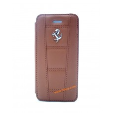 Ferrari 458 Genuine Leather Booktype Case for iPhone 5 / 5s / SE - Camel